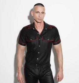 RoB F-Wear Polizei Uniformhemd schwarz mit rotem band