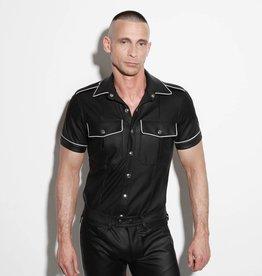 RoB F-Wear Polizei Uniformhemd schwarz mit weißem band