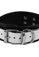 RoB Leather Slave Collar White on Black