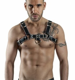 RoB H-Chest Harness Schwarz mit Grauer Piping