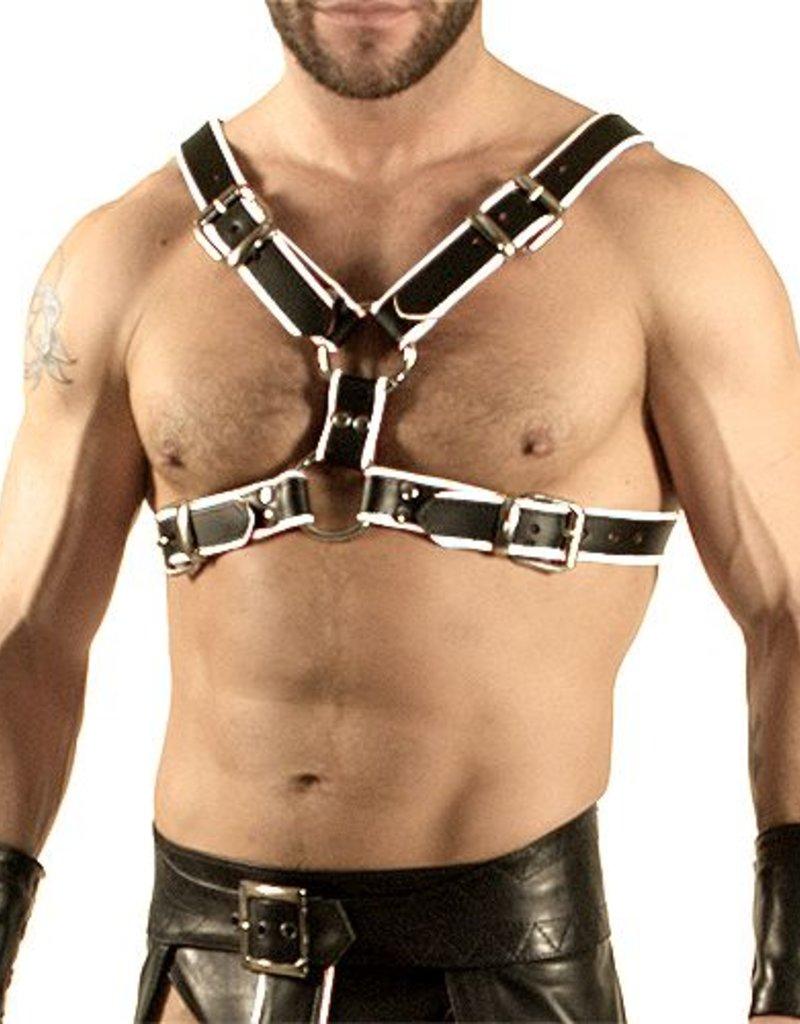 RoB Y-Front Brust Harness schwarz mit weiss