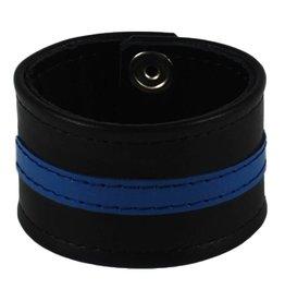 RoB Leren Polsband met blauwe streep