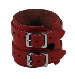 RoB Leren Polsband met 2 gespen, rood