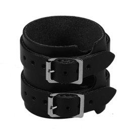 RoB Leder Armband 2 Schnallen, Schwarz
