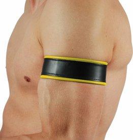 RoB Leder Bicepsband Schwarz/Gelb mit Lederriemen