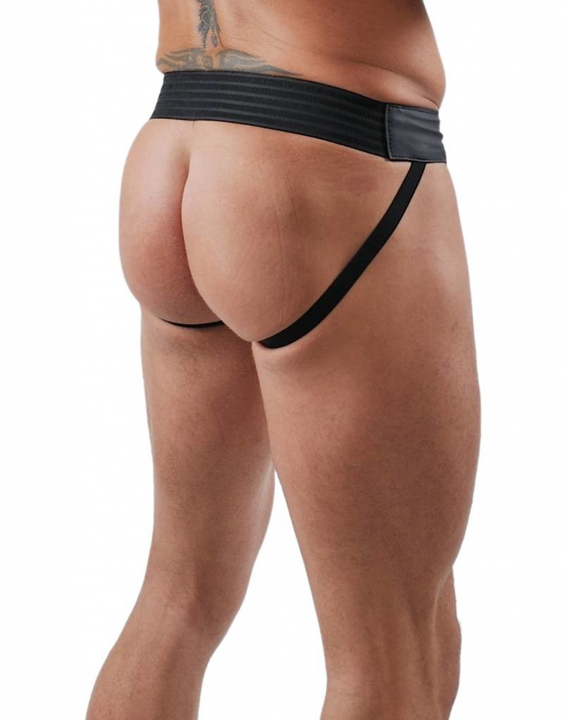 RoB F-Wear Jockstrap with Front Zip and yellow stripes