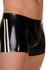 RoB Rubber Shorts met doorlopende rits en witte strepen