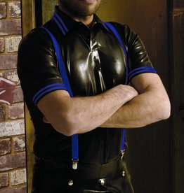 RoB Rubber Polo Shirt with blue stripes