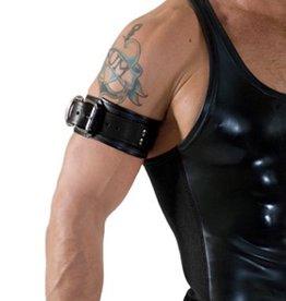 RoB Leder Bicepsband mit Schnalle, Schwarz