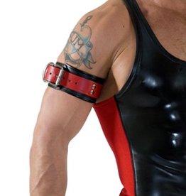 RoB Leder Bicepsband mit Schnalle, Rot