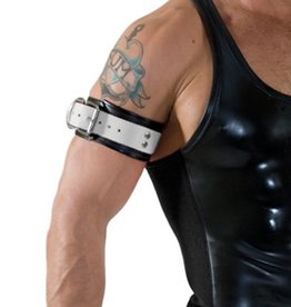 RoB Leather Bicepsband with Buckle, White