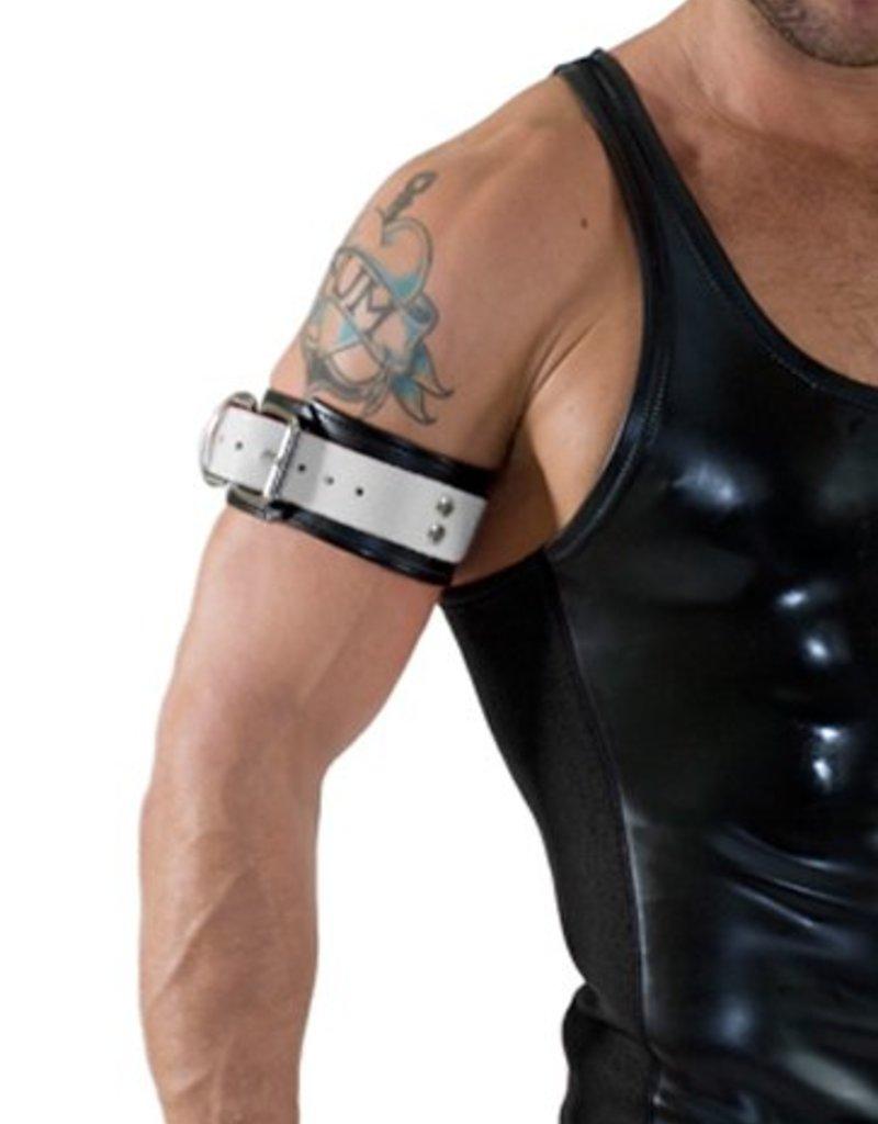 RoB Leder Bicepsband mit Schnalle, Weiss