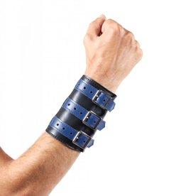 RoB 3-Schnallenarmband aus weichem Leder schwarz mit blau