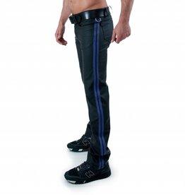 RoB F-Wear Full Zip Jeans, Blaue Doppelstreifen