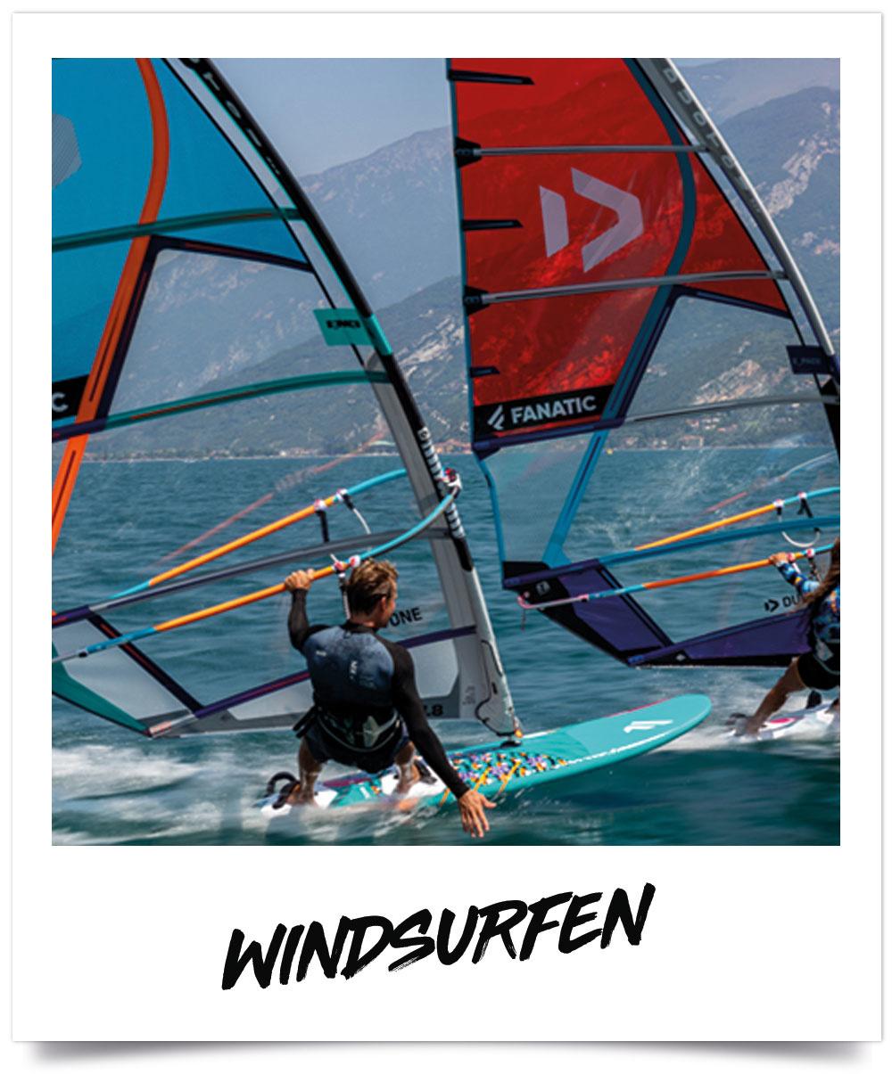 Windsurf boards en zeilen