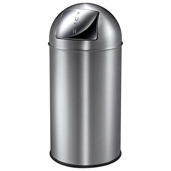 Afvalbak met Pushdeksel 40L, Mat RVS