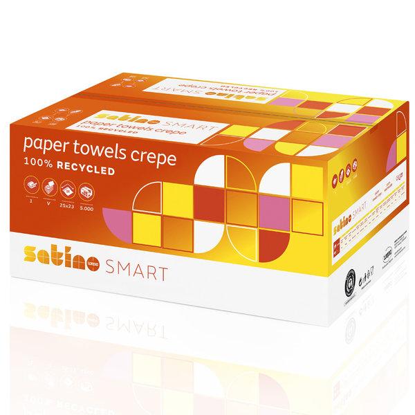Satino Handdoekjes 1-Laags, Wit, Gerecycled, V-vouw, 25x23cm, 5000 stuks