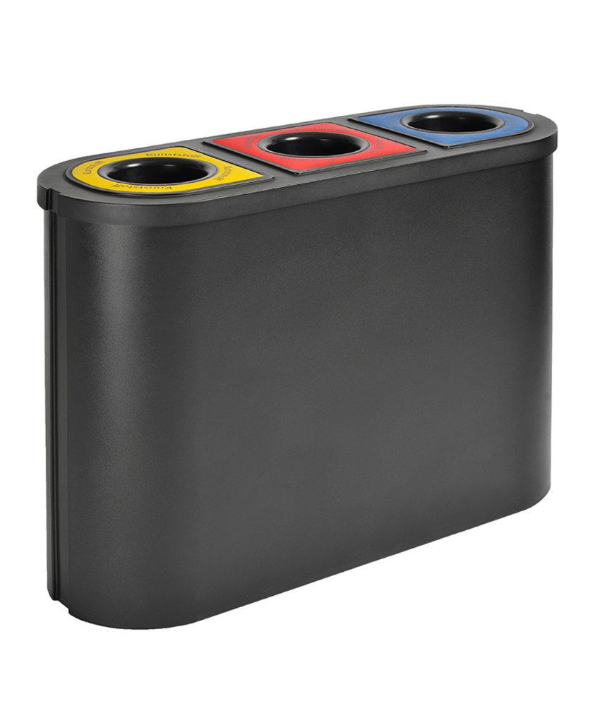 Afvalbak Triomf, Zwart, 3x45L