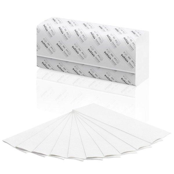 Satino Handdoekjes 2-Laags, Helder Wit, Cellulose, W-vouw, 20.6x32cm, 3000 stuks (PT2)