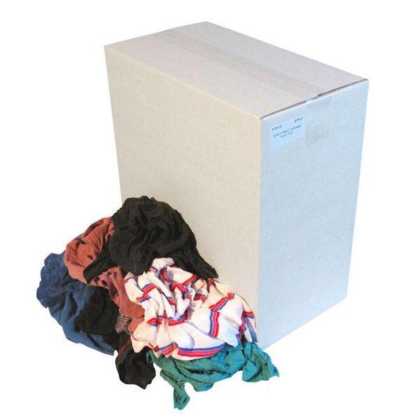 Bonte tricot poetslappen in doos.