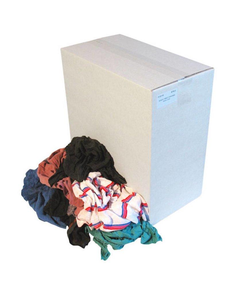 Wegwerp Bonte tricot poetslappen in doos.