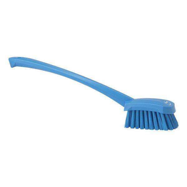 Vikan afwasborstel met lange steel, hard, blauw