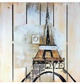 Eliassen Olie op houtschilderij Eiffel 60x60cm