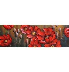 Eliassen Metaal schilderij Rode bloemen 50x150cm