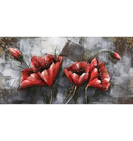 Eliassen Metalen 3d schilderij Rode Bloem1 120x60cm