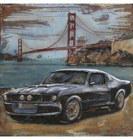 Eliassen Metalen 3d schilderij Mustang2 100x100cm