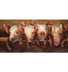3D painting metal 60x120cm Crazy Pigs