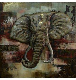 Eliassen 3|D schilderij olifant groot 100x100cm