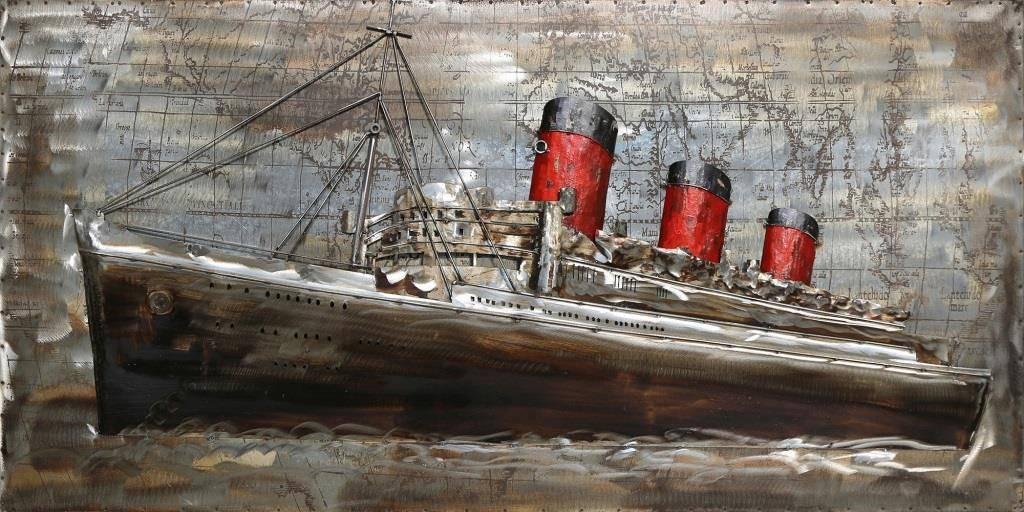 Eliassen 3D schilderij 70x140cm Stoomboot