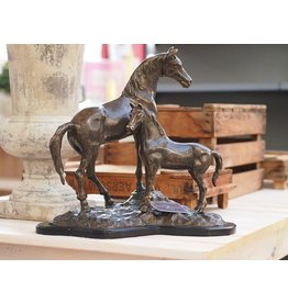 Eliassen Sculpture bronze horse and foal on wooden base
