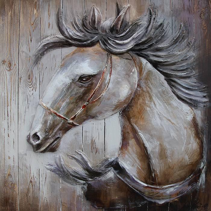 Uitgelezene Schilderij 3d hout 91x91cm Paard naar links - Eliassen Home MB-73
