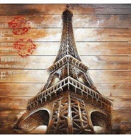 Eliassen Schilderij hout 3d 91x91cm Eiffel