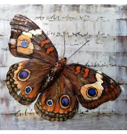 Painting metal 3d 80x80cm Butterfly
