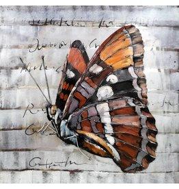 Eliassen 3D Gemälde Metall 80x80cm Schmetterling 1