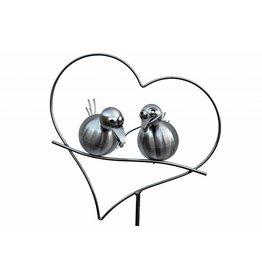 Garden plug stainless steel 2 birds in heart