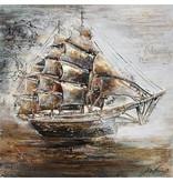 Eliassen 3D schilderij canvas 80x80cm Zeilboot