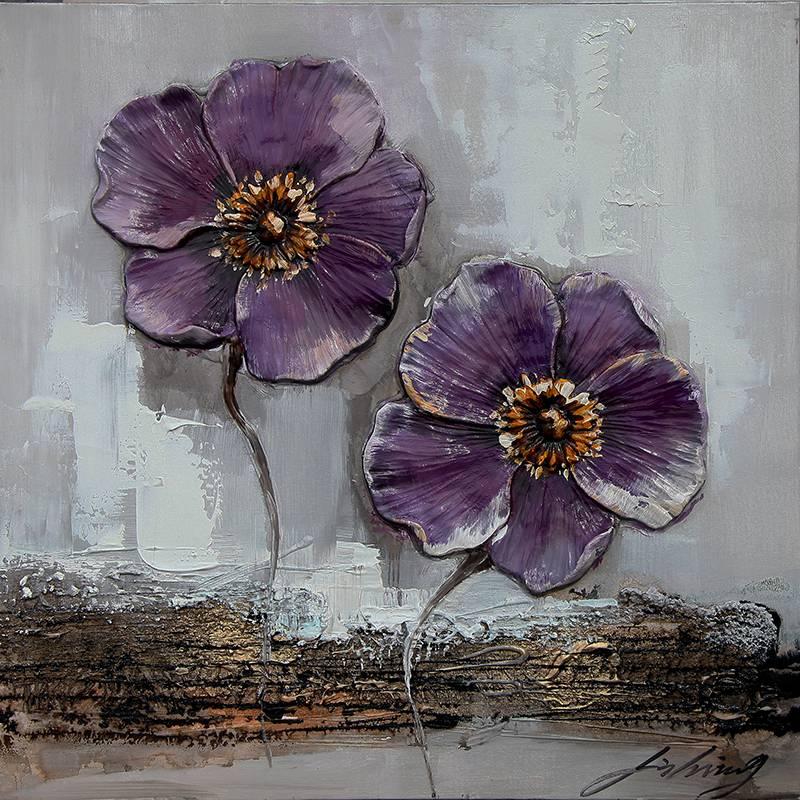 Eliassen 3D schilderij canvas 60x60cm Paarse bloemen