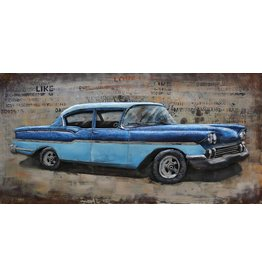 Eliassen Painting metal 3d 60x120cm Blue car