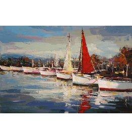 Olie op canvas schilderij 120x90cm Haven