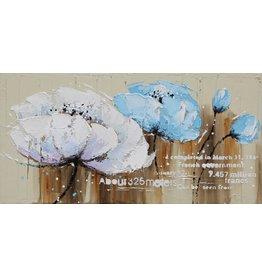 Olie op canvas schilderij 120x60cm Blauw/Wit