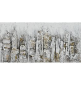 Canvas painting 70x140cm Abstract city