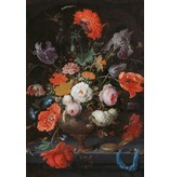 Dibond schilderij Stilleven met bloemen en Horloge