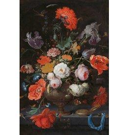 Dibond Malerei Stillleben mit Blumen und Uhr
