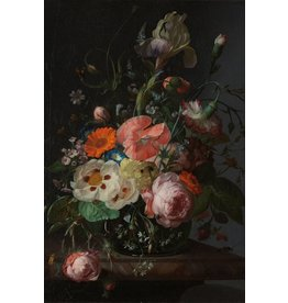 Painting dibond Still life with flowers on maremeren table
