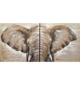 Olieverf schilderij 2 luik Olifant 60x60cm