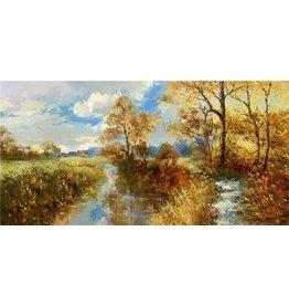 Olieverf schilderij Drassig 60x150cm